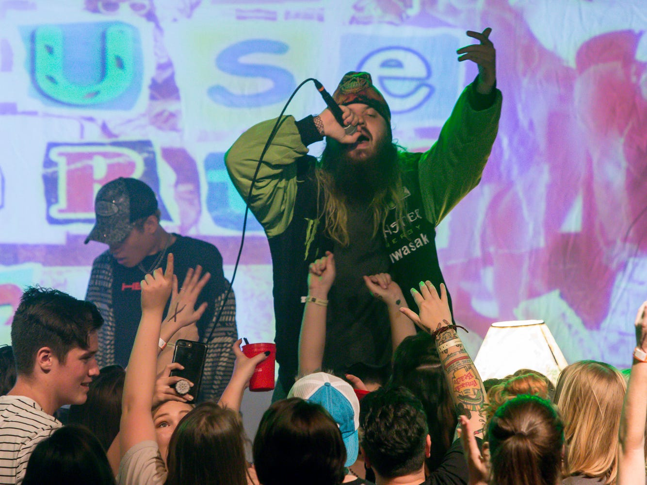 """Lil Aaron opens for 3OH!3 during """"The Want House Party"""" tour stop at Vinyl Music Hall on Monday, November 19, 2018."""