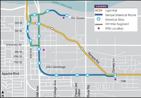 The three-mile streetcar route will loop through downtown Tempe, Arizona State University, Rio Salado Parkway, Apache Boulevard and Ash Avenue.