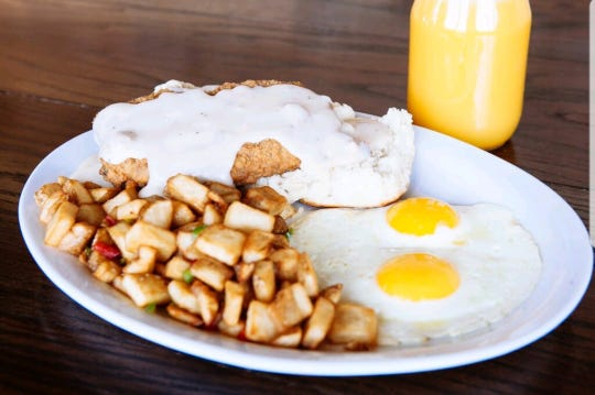 The country fried steak and eggs at Haymaker.