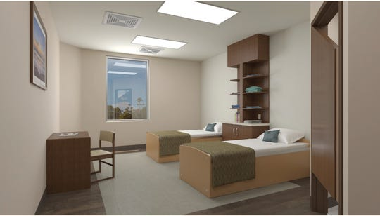 A rendering of a patient room at Destiny Springs Behavioral Hospital, near Dysart and Bell roads in Surprise.