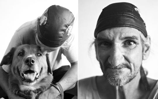 Terry Clark who brought his best friend, Dirt, to his photo shoot. The portraits are the only photo Clark has of the two of them together.