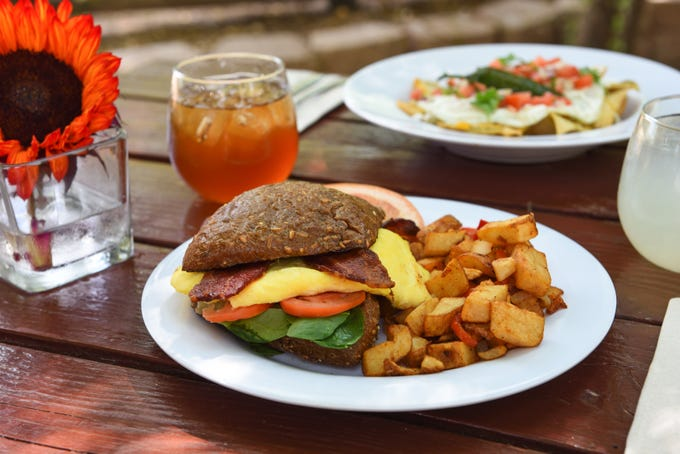 "The ""B.E.S.T."" breakfast sandwich at the Morning Glory Café at The Farm."