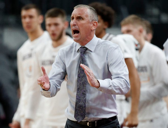 Arizona State head coach Bobby Hurley yells toward the court during the second half of an NCAA college basketball game against Mississippi State, Monday, Nov. 19, 2018, in Las Vegas. Arizona State won 72-67.