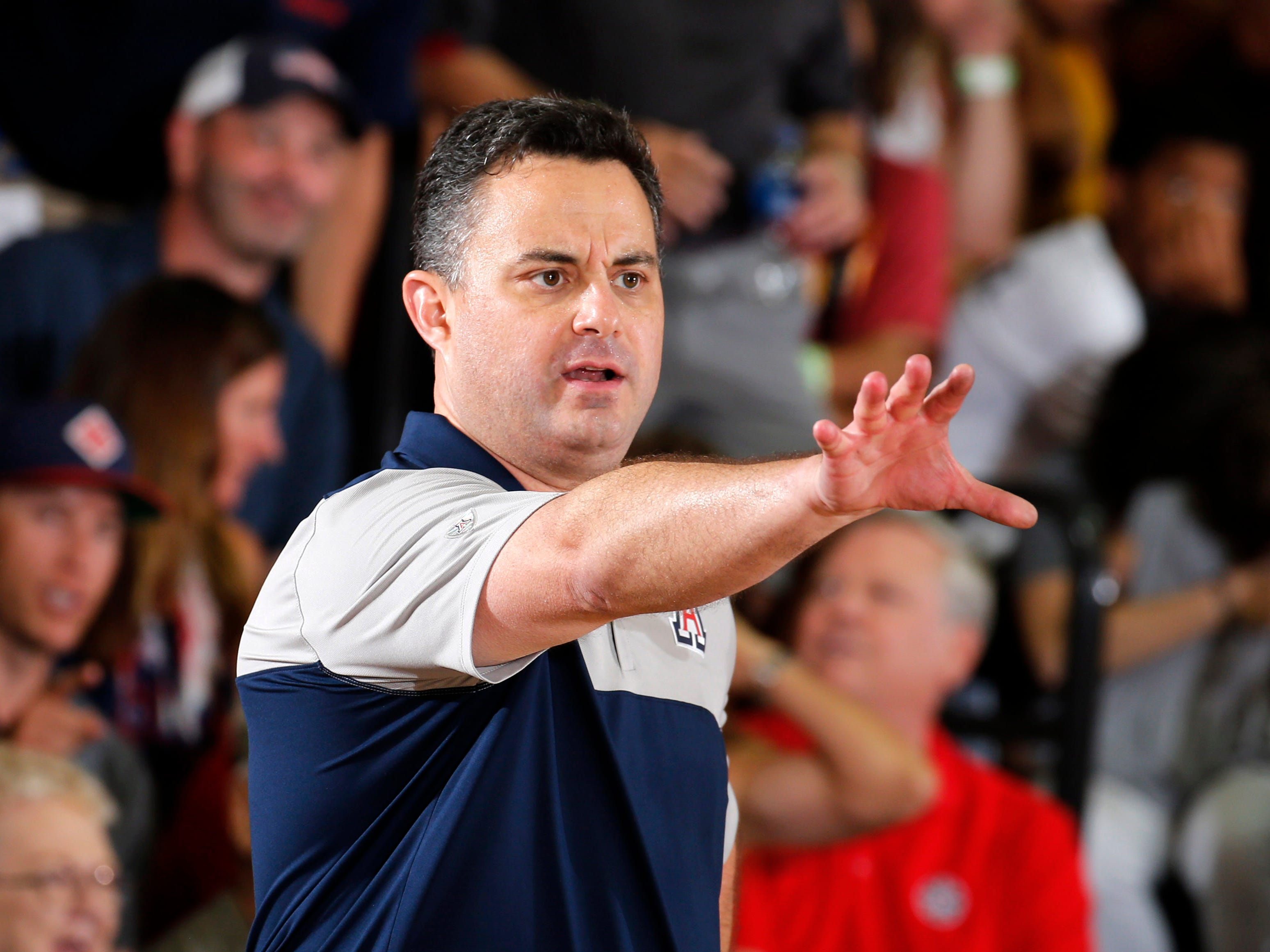 Arizona Wildcats coach Sean Miller coaches on the sidelines against the Iowa State Cyclones in the second half during round one of the Maui Jim Maui Invitational at Lahaina Civic Center.