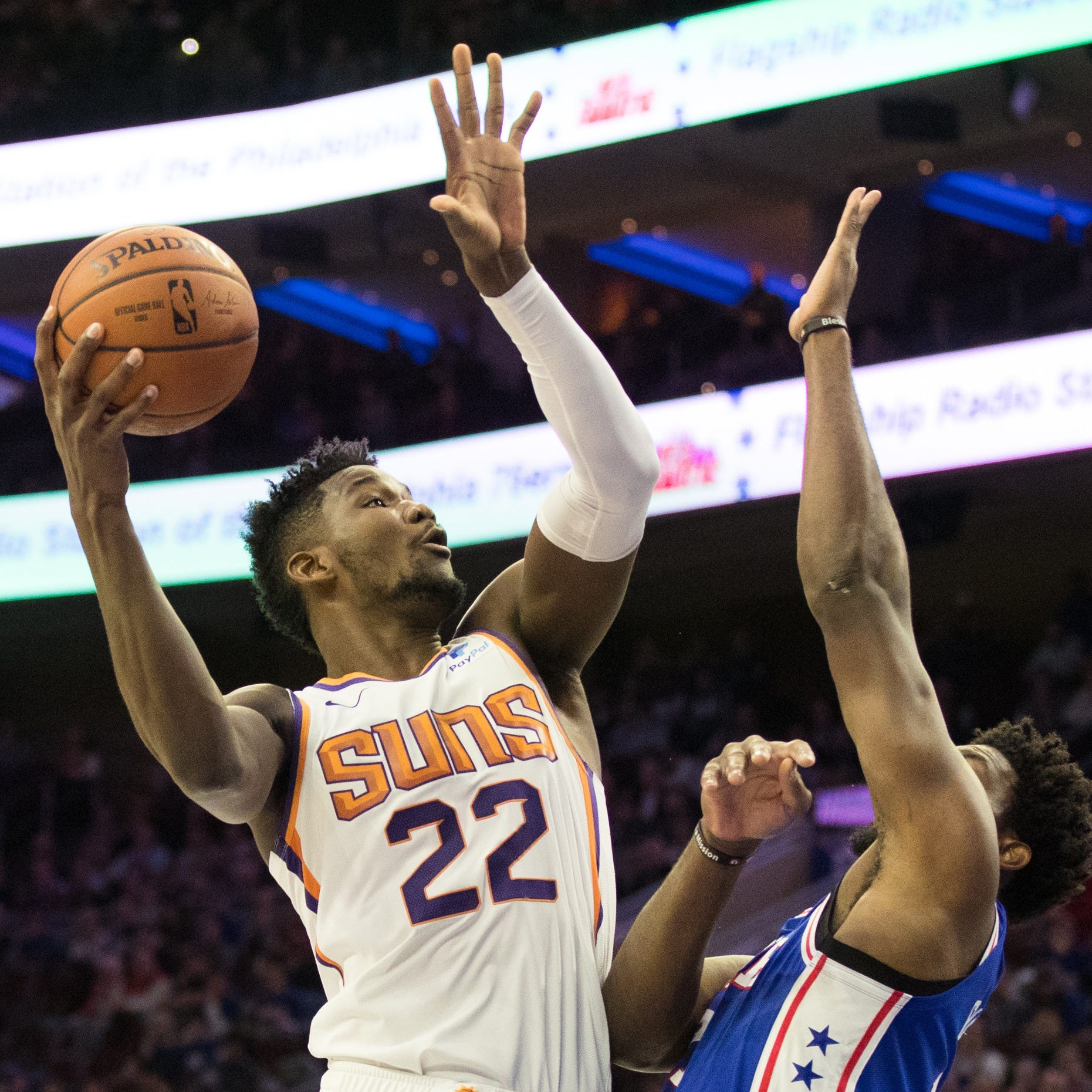 Deandre Ayton gains Joel Embiid's respect, but loses battle of big men as Suns fall to 76ers