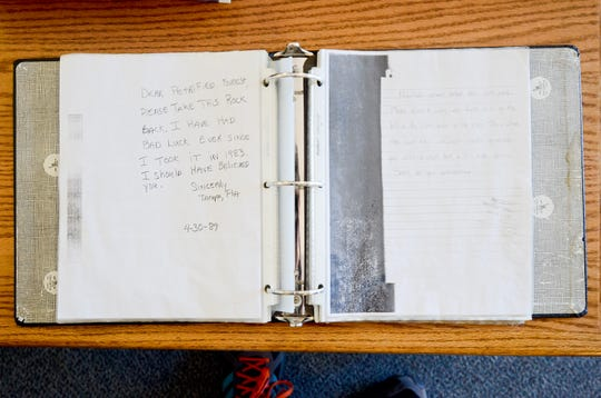 Curators at the Rainbow Forest Museum, within the park, maintain this binder with facsimiles of conscience letters. The binder is no longer on view.