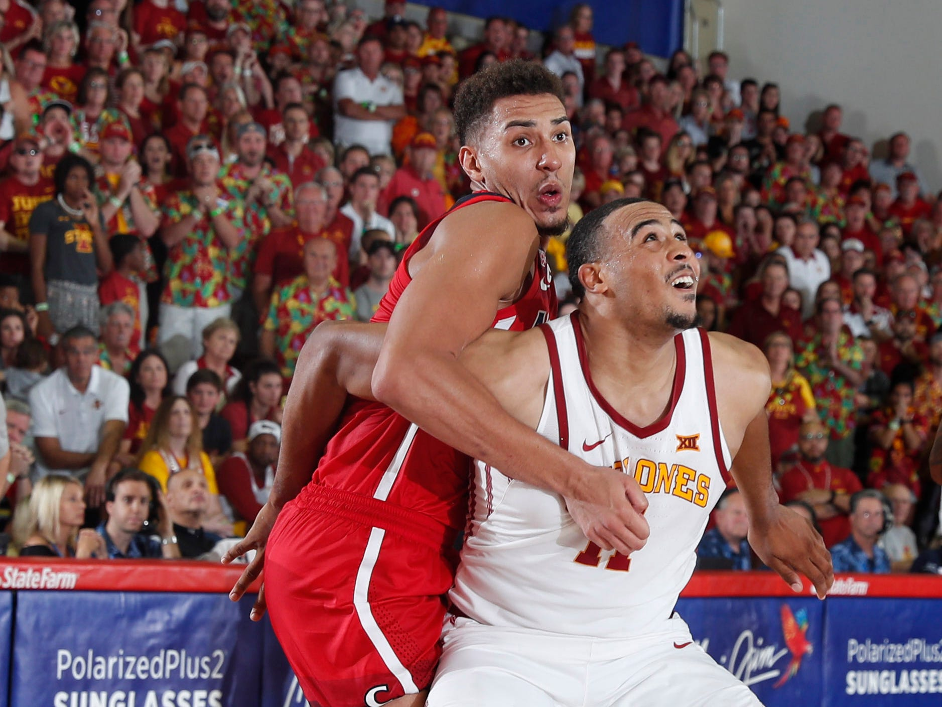 Iowa State Cyclones guard Talen Horton-Tucker (11) blocks out Arizona Wildcats forward Chase Jeter (4) in the second half during round one of the Maui Jim Maui Invitational at Lahaina Civic Center.