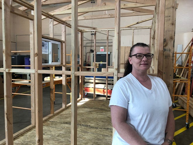 Iris Bost, now a safety instructor for ADOT, teaches iclasses at a Gila Community College facility in Miami, Arizona. She graduated last year from the Construction Academy, which aims to bring more women and minorities into the construction industry.