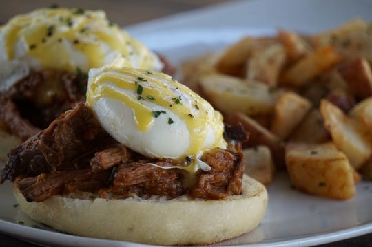 The short rib Benedict at Pomelo at the Orchard.