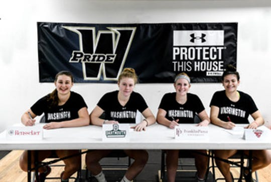 Annville-Cleona grad Katelyn Brightbill, Seated third from left,  recently signed to continue her ice hockey career at Franklin Pierce University in New Hampshire.
