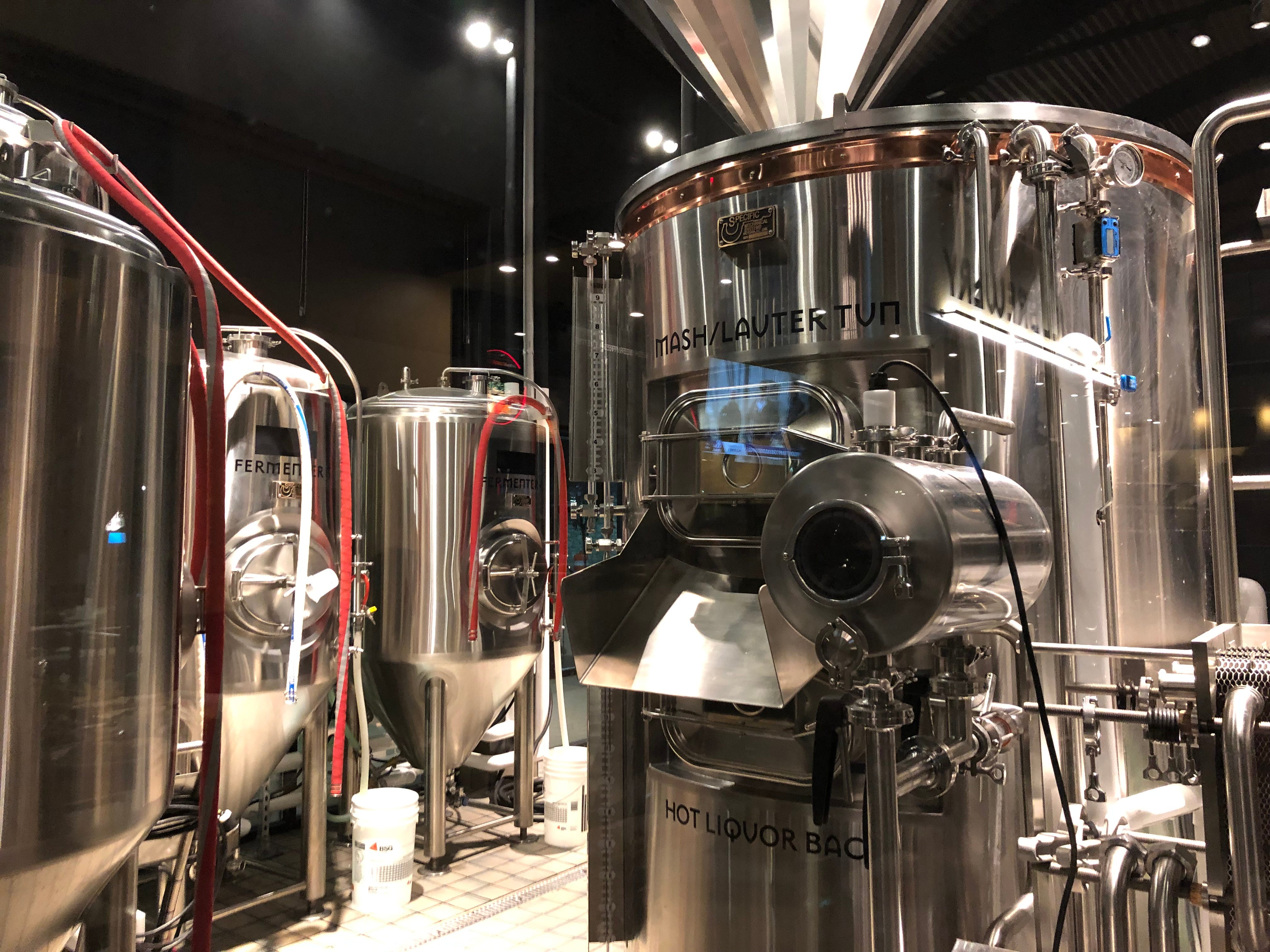 Another look at the 10-barrel brewing system inside Iron Hill Brewery & Restaurant in Hershey.