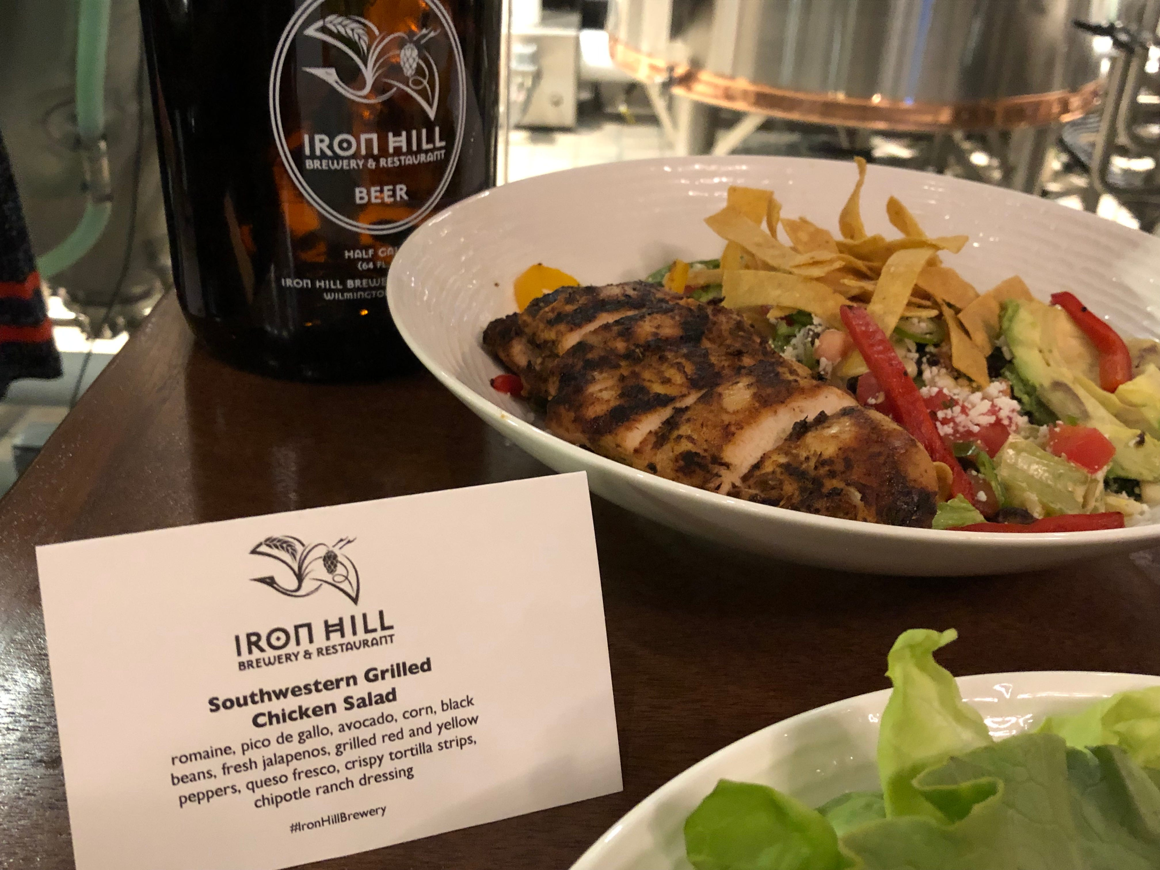 Beware: The Southwestern Grilled Chicken Salad at Iron Hill Brewery & Restaurant has some kick.