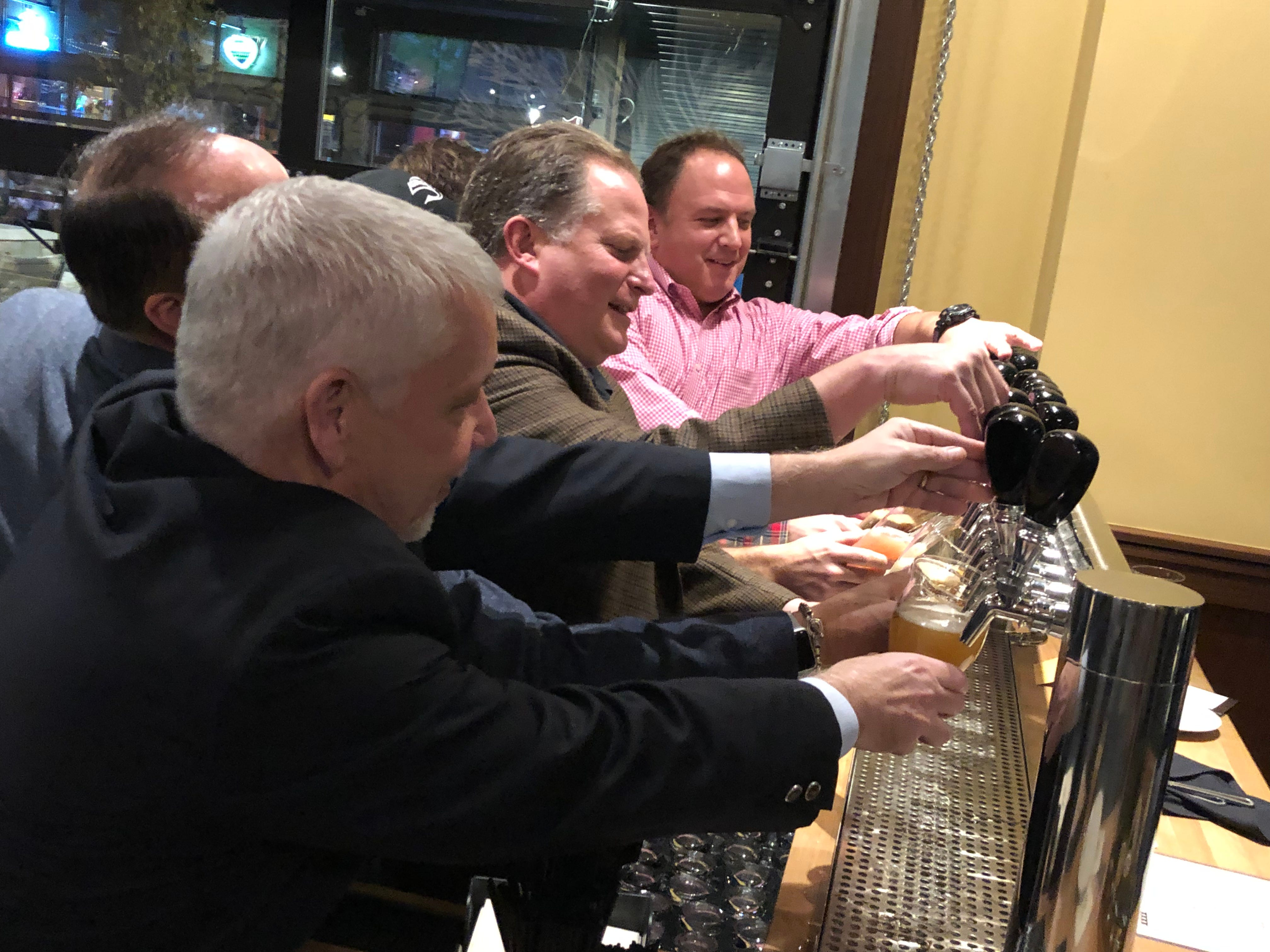 "Scenes from the ceremonial ""first pour"" at the new Iron Hill Brewery & Restaurant in Hershey."