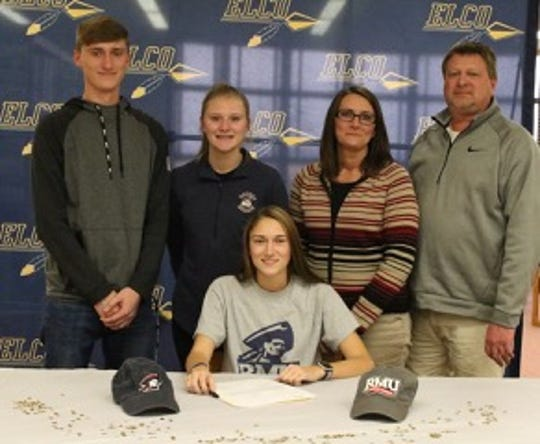Elco's Jordan Rosengrant put her signature on a national letter-of-intent to play college soccer on Monday. Joining her for the ceremony at Elco High School were her brother Kyle, sister Devon, mother Jen, and father Jeff.