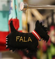 A felt ornament with the likeness of Fala, FDR's dog for sale at the FDR Library & Museum gift shop in Hyde Park on November 20, 2018.