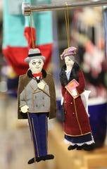 Felt ornaments in the shape of FDR and Eleanor Roosevelt for sale at the FDR Library & Museum gift shop in Hyde Park on November 20, 2018.