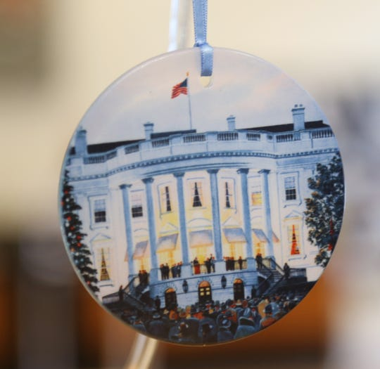 A historical White House Christmas tree ornament for sale at the FDR Library & Museum gift shop in Hyde Park on November 20, 2018.