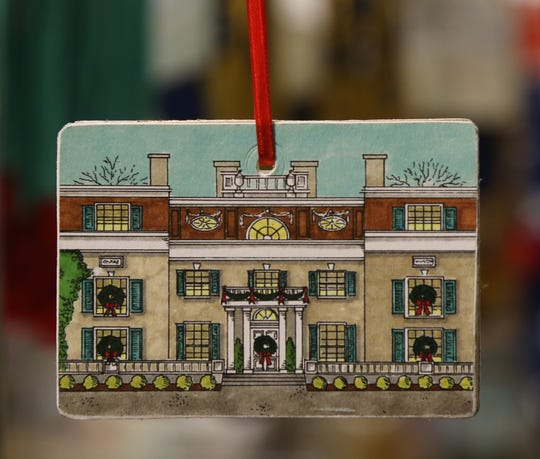 A Christmas Ornament in the shape of the Roosevelt home for sale at the FDR Library & Museum gift shop in Hyde Park on November 20, 2018.