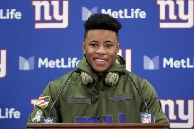 Former Penn State standout Saquon Barkley is enjoying a standout rookie season with the New York Giants. The Giants and Barkley will face the Philadelphia Eagles on Sunday at Lincoln Financial Field.  (AP Photo/Julio Cortez)