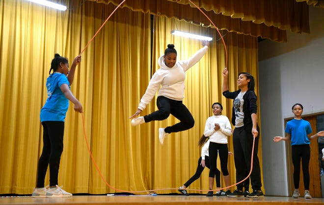 Members of the Double Dutch Crew perform during the Crispus Attucks 35th annual Cultural Thanksgiving Celebration, Monday,  November 19, 2018. John A. Pavoncello photo