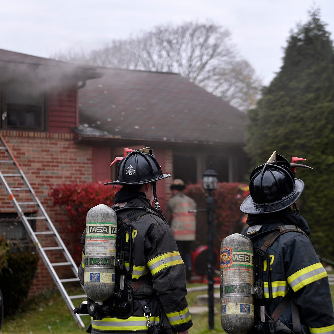 About two dozen firefighters quickly knocked down a fire in a Springettsbury Township home, Tuesday, November 20, 2018.
