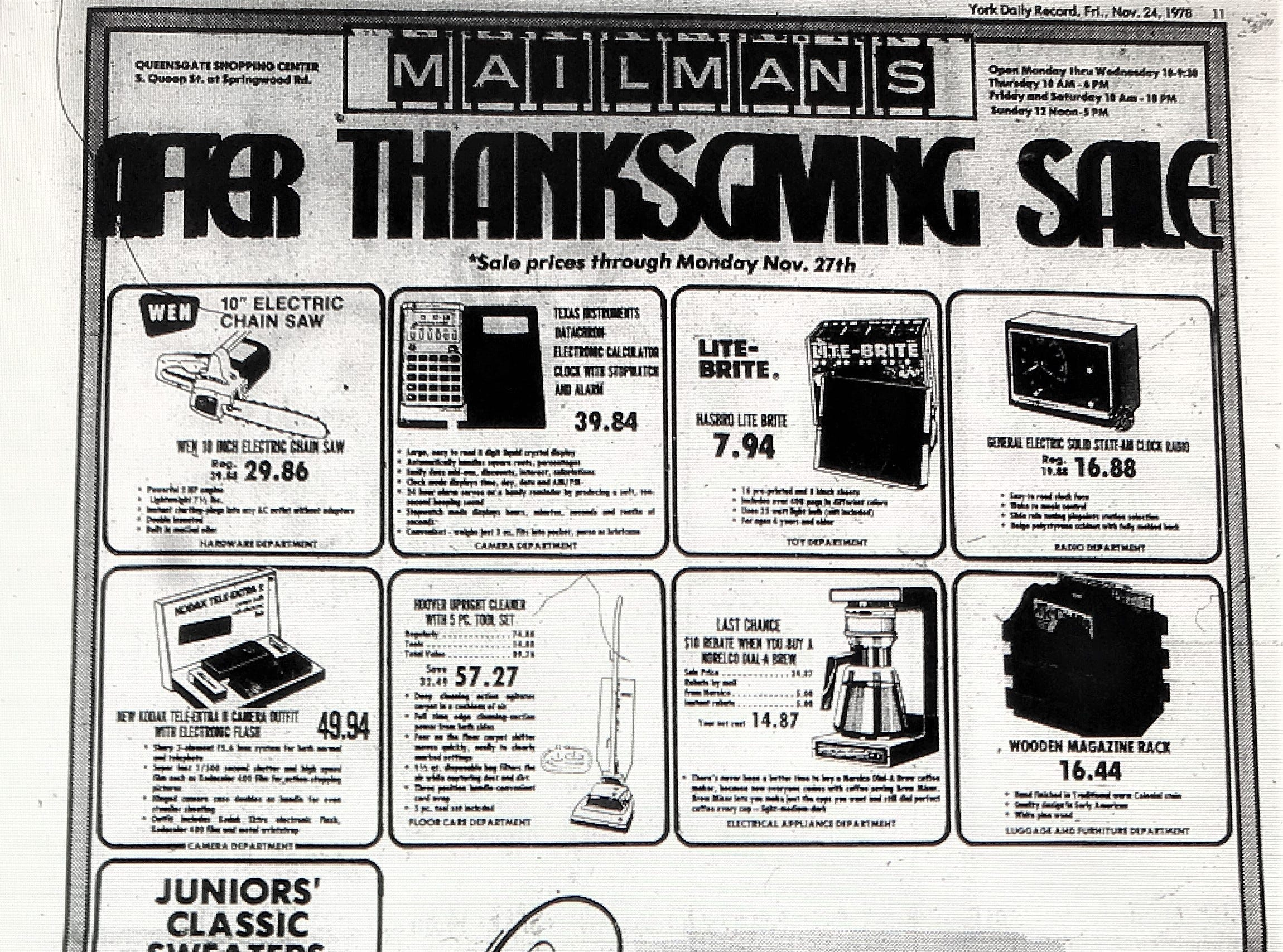 A 1978 holiday advertisement from Mailman's department store in the Queen St. Shopping Center. Mailman's closed in 1990.
