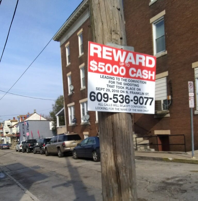 A reward of up to $5,000 is being offered for the Sept. 29 shooting on North Franklin Street in which Ray Abboud was injured.
