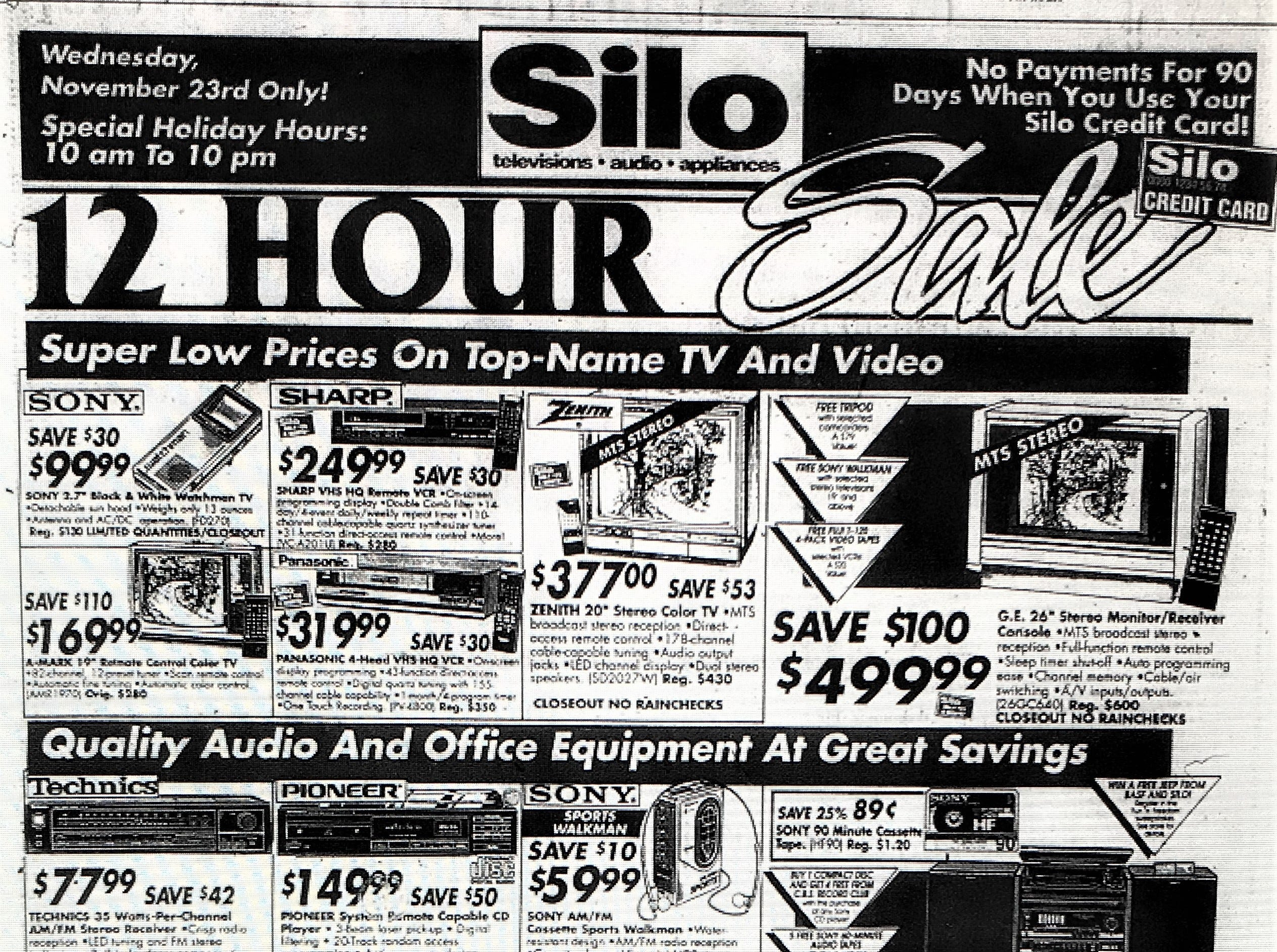 A 1988 Silo advertisement for a 12-hour electronics sale at York County locations the Wednesday before Thanksgiving. Silo, a electronic retail company ceased operations in 1995.