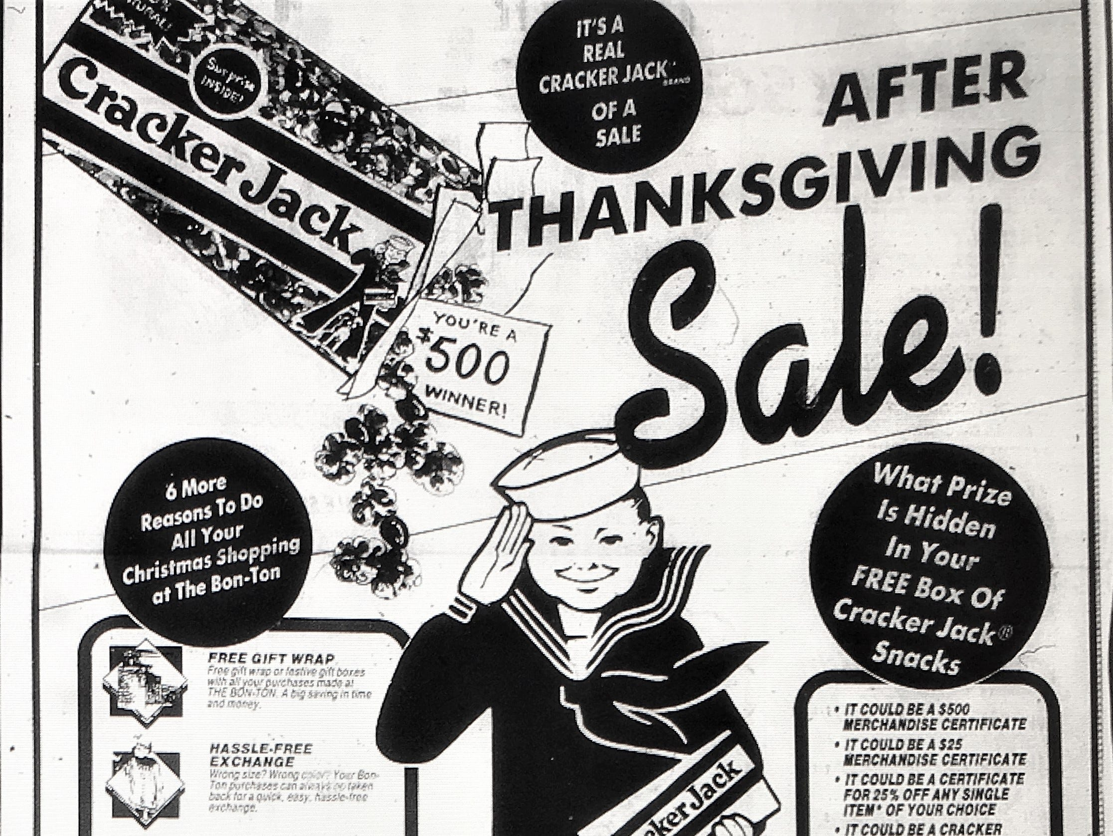 A 1988 joint advertisement between Cracker Jack and Bon-Ton department stores. In August 2018 several Bon-Ton locations within Pennsylvania closed including stores in Camp Hill, Harrisburg, Hanover, Lancaster and York.