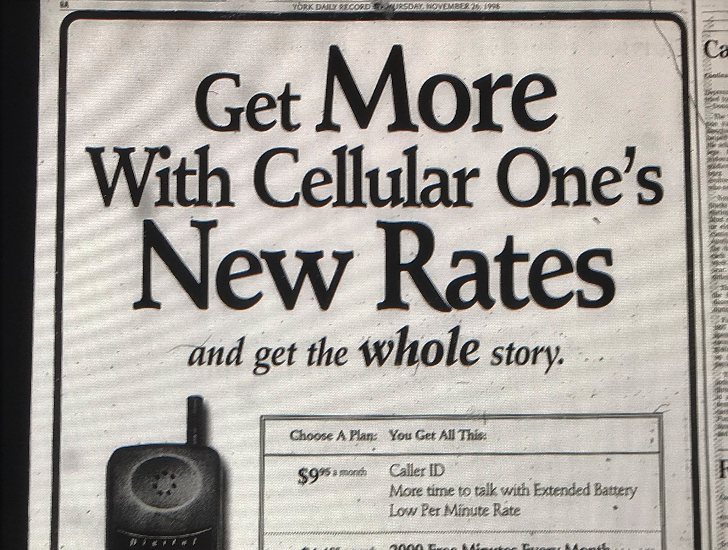 A 1998 holiday advertisement from Celluar One.