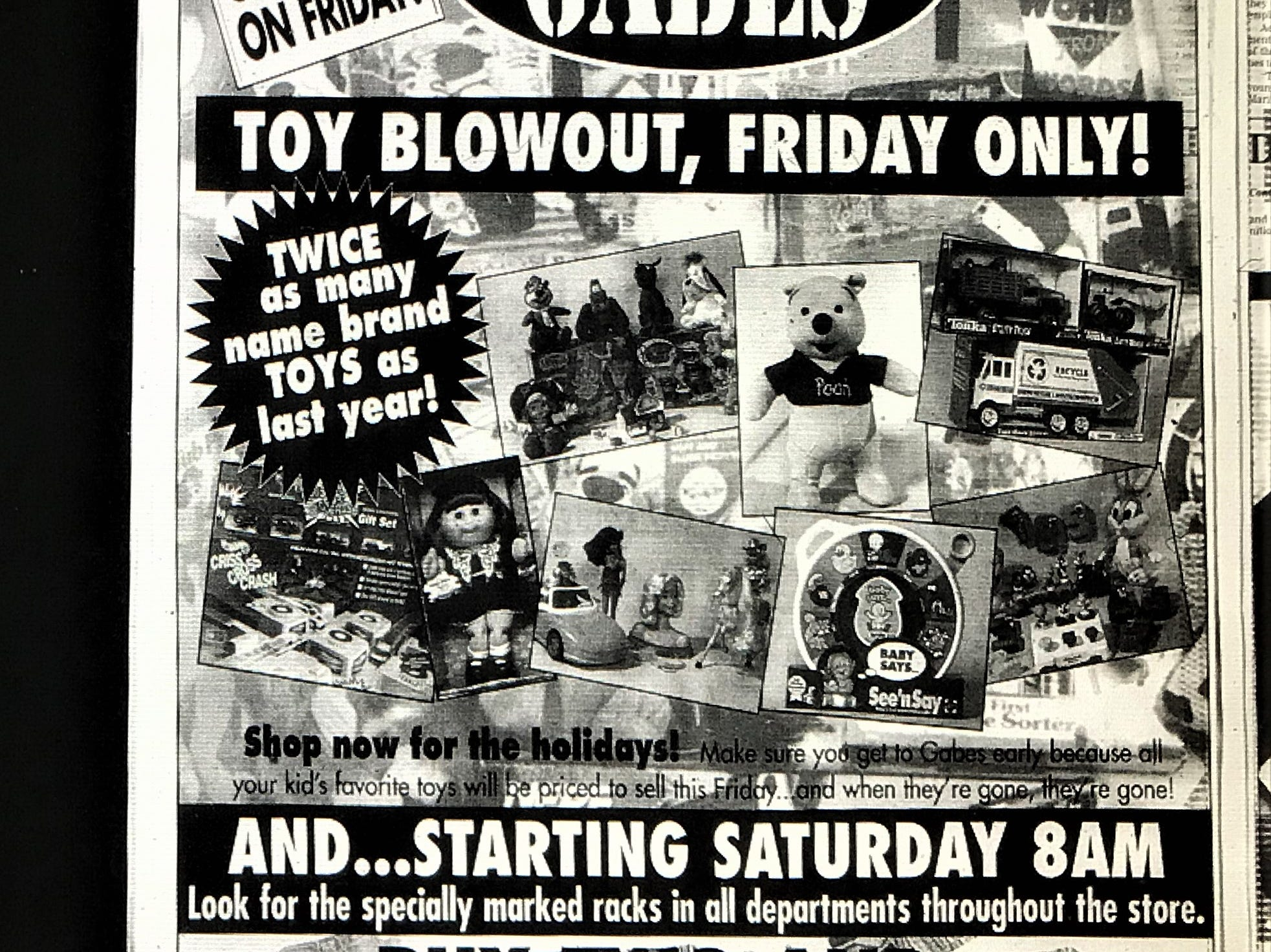 A full page ad from Gabe's department store in the Wednesday, November 26, 1998 issue of the York Daily Record.