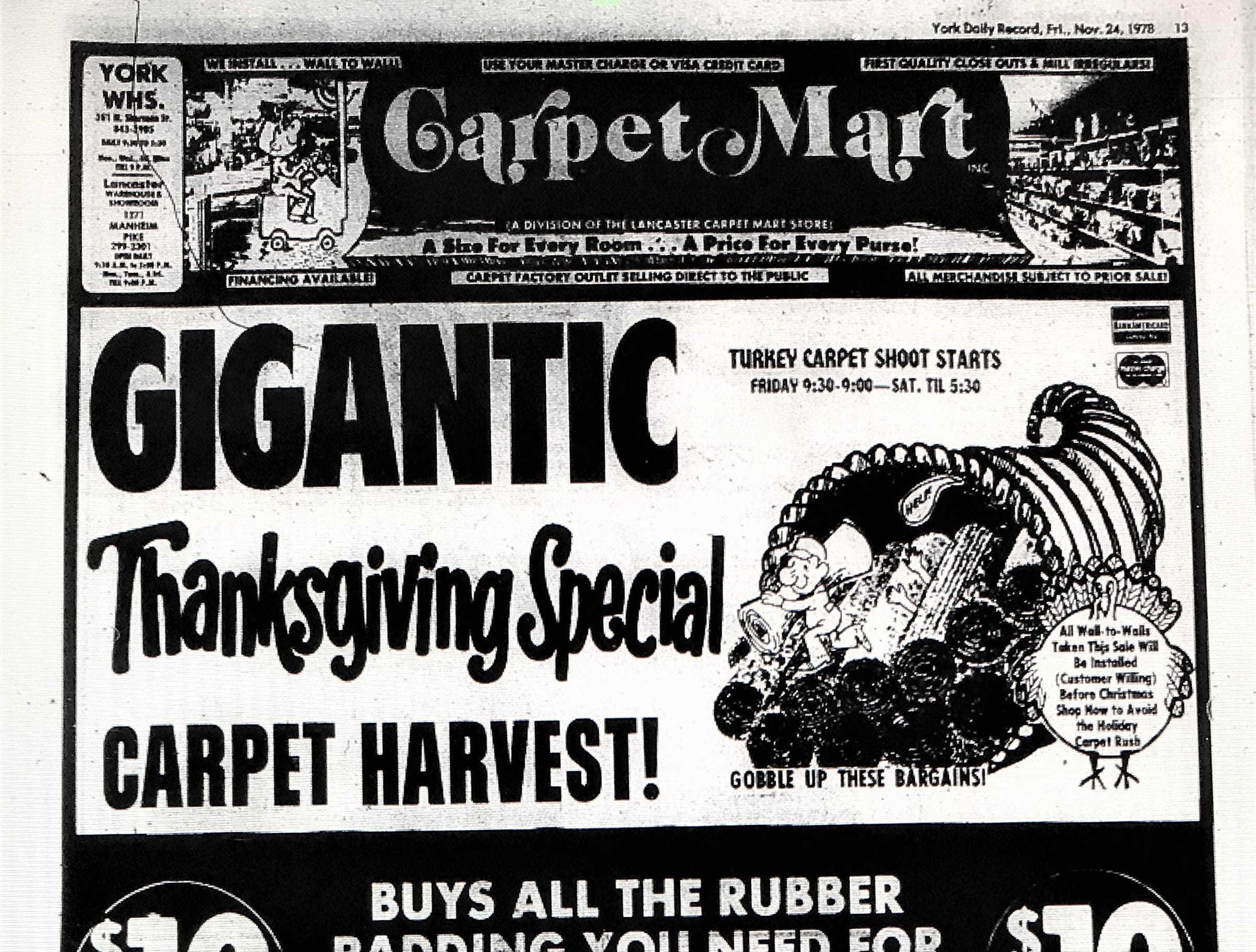 A 1978 Carpet Mart ad for after Thanksgiving sales.