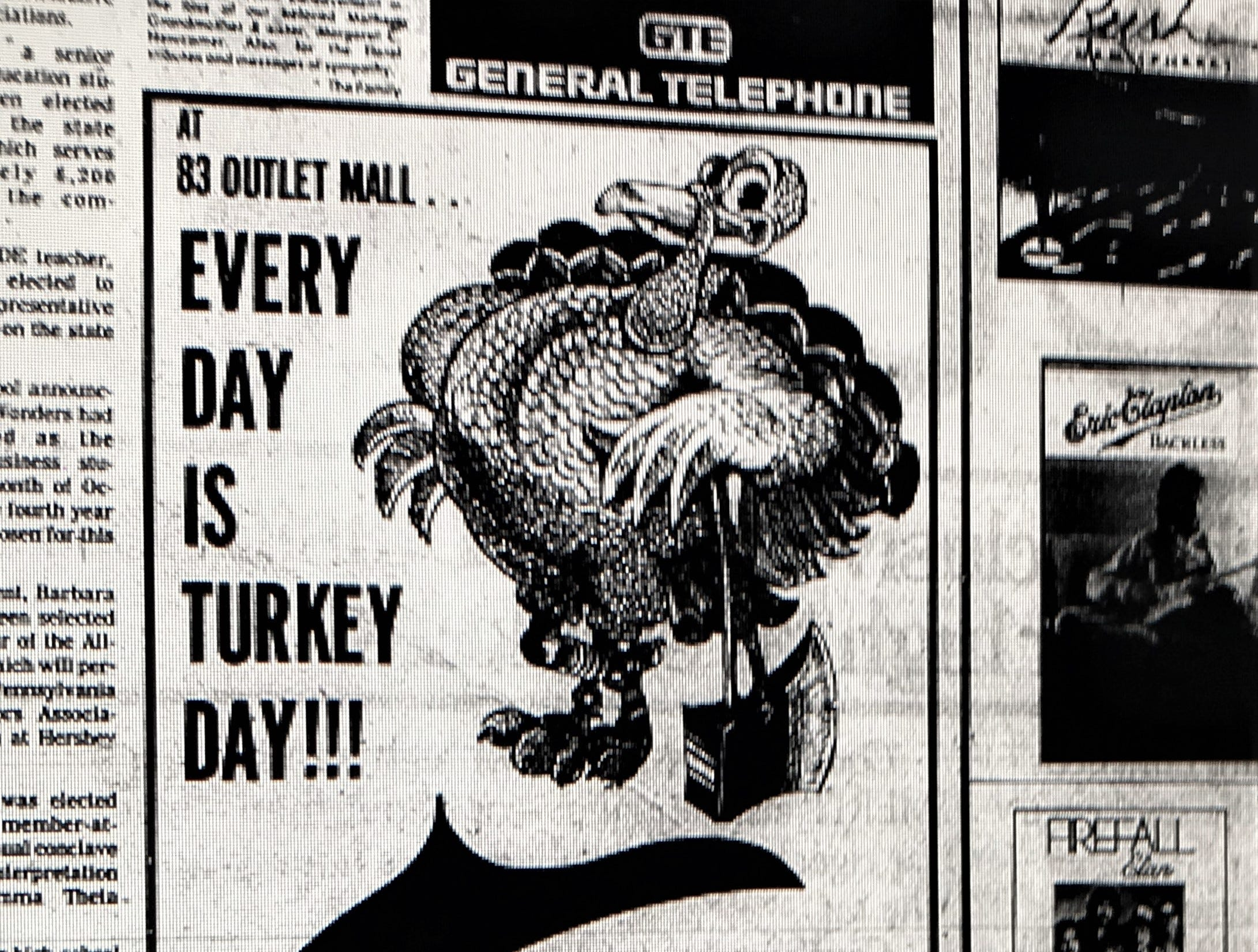 A holiday promotion for a 12 to 14 lb. turkey giveaway at the 83 Outlet Mall. This ad originally ran in the Wednesday, November 22, 1978 issue of the York Daily Record.