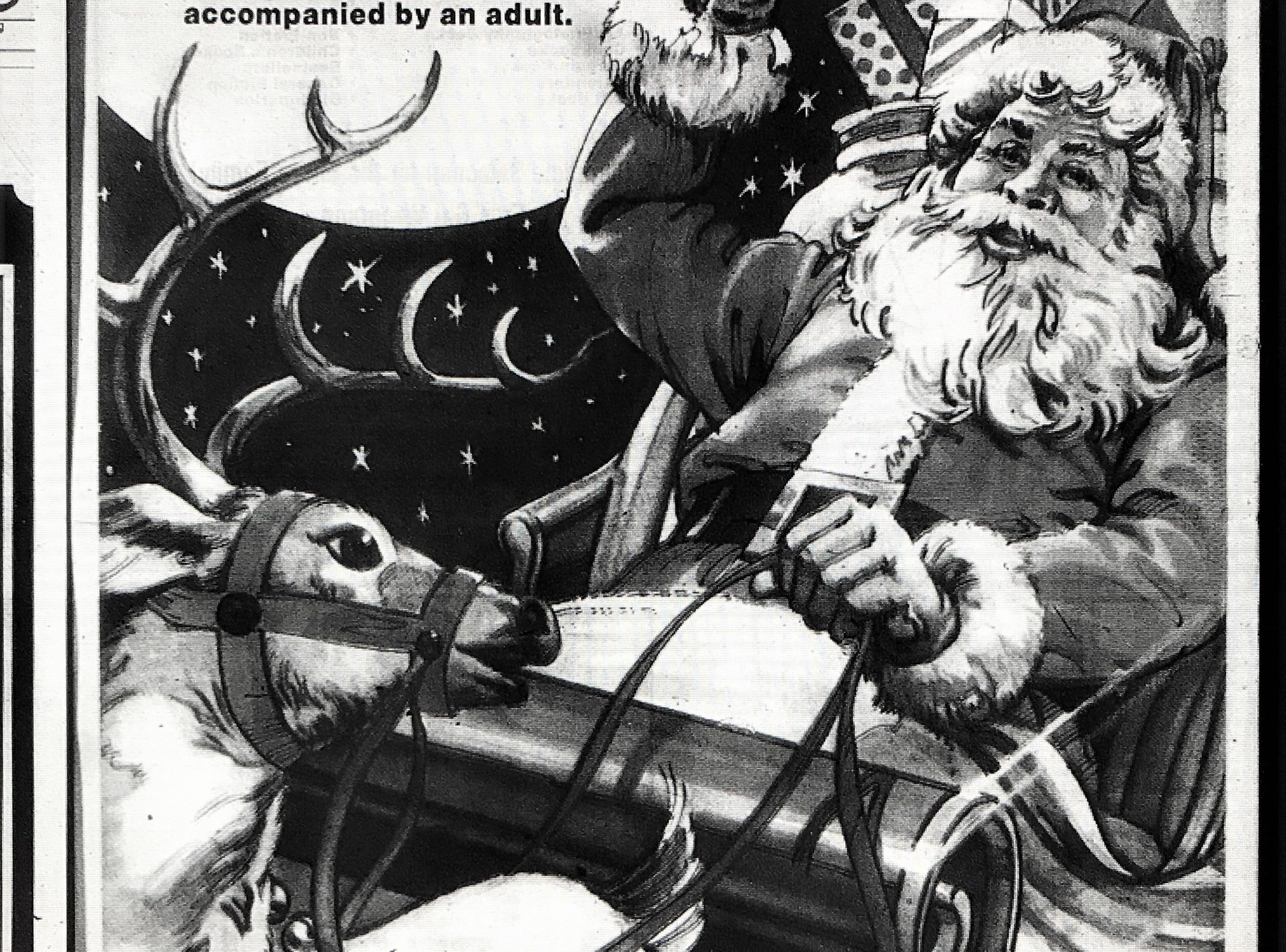 A 1988 Black Friday advertisement for the Queensgate Shopping Center in York. According to the ad, the first 500 children accompanied by an adult were awarded a 15'' toy-filled stocking.