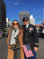 Annika Caldwell and Lt. Col. Scott Caldwell at the 2018 Veterans Day parade in Reno.