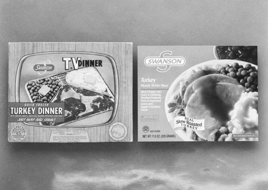 Swanson introduced the TV dinner in 1954 as a way to use up an extra 260 tons of Thanksgiving turkey the company had ordered after miscalculating demand.