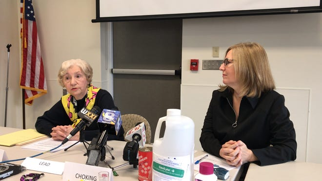 Judy Braiman, left, and Carol Chittenden, the president and director of the Empire State Consumer Project, respectively, discuss dangerous items at the Pittsford Community Library on Nov. 20, 2018.