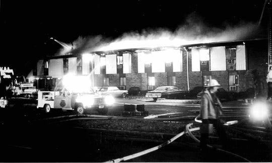 Photo of the Greece Holiday Inn fire in 1978 shortly before the fire peaked. Photo was taken by Don Hemmer and bought by the Democrat and Chronicle. DC 11/27/1978)