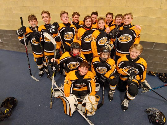 The 2018-19 Perinton Blades Major Peewee AA team. Democrat and Chronicle columnist David Andreatta is proud to be the team's coach.