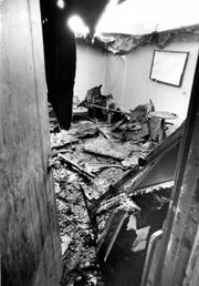 Burned out room in the Greece Holiday Inn which was destroyed by a fire that killed 10. (Burr Lewis photo, 11/27/1978)
