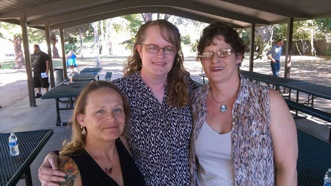 Left to right: Marge Nelms, Terri Rasters and Lolene Rios in 2016 in Carmichael Park, Carmichael.