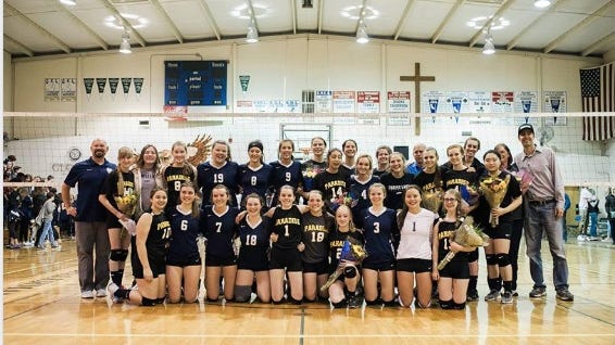 Forest Lake Christian School and Paradise Adventist Academy  girls volleyball teams on Nov. 10, 2018 in Auburn.