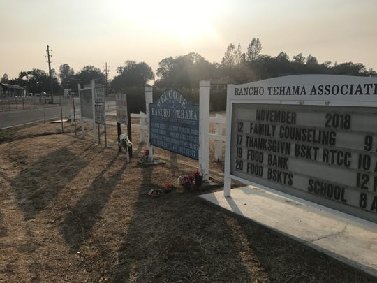 Signs welcome visitors to Rancho Tehama Reserve, where a shooter killed five people and then himself last November.