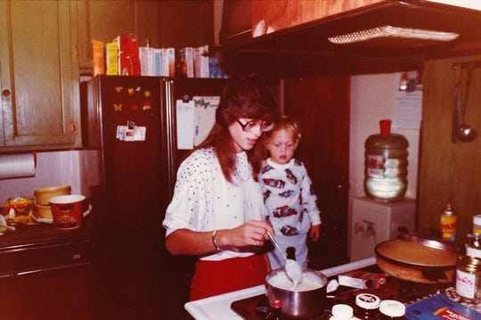 Lolene Amendola (now Rios) and her son from her first marriage, Jed Amendola, 2, make dinner together in 1983. When he grew up, Jed became a chef.