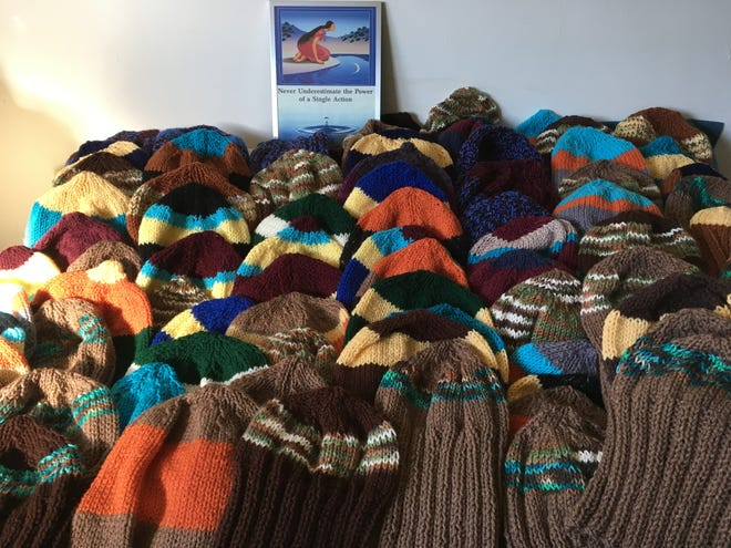 Shelley Kaplan's goal is to knit at least 100 hats for the homeless.