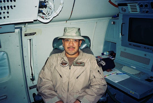 Richard Quinones was an air intelligence technician and flew on intelligence gathering platforms in 2005 over Iraq.