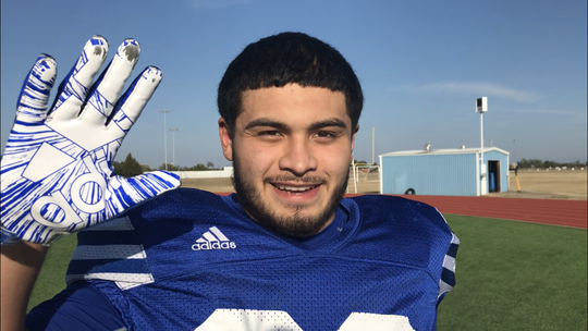 Lake View's David Tanguma explains how he intercepted a pass to help the Chiefs win their first playoff football game since 2014.