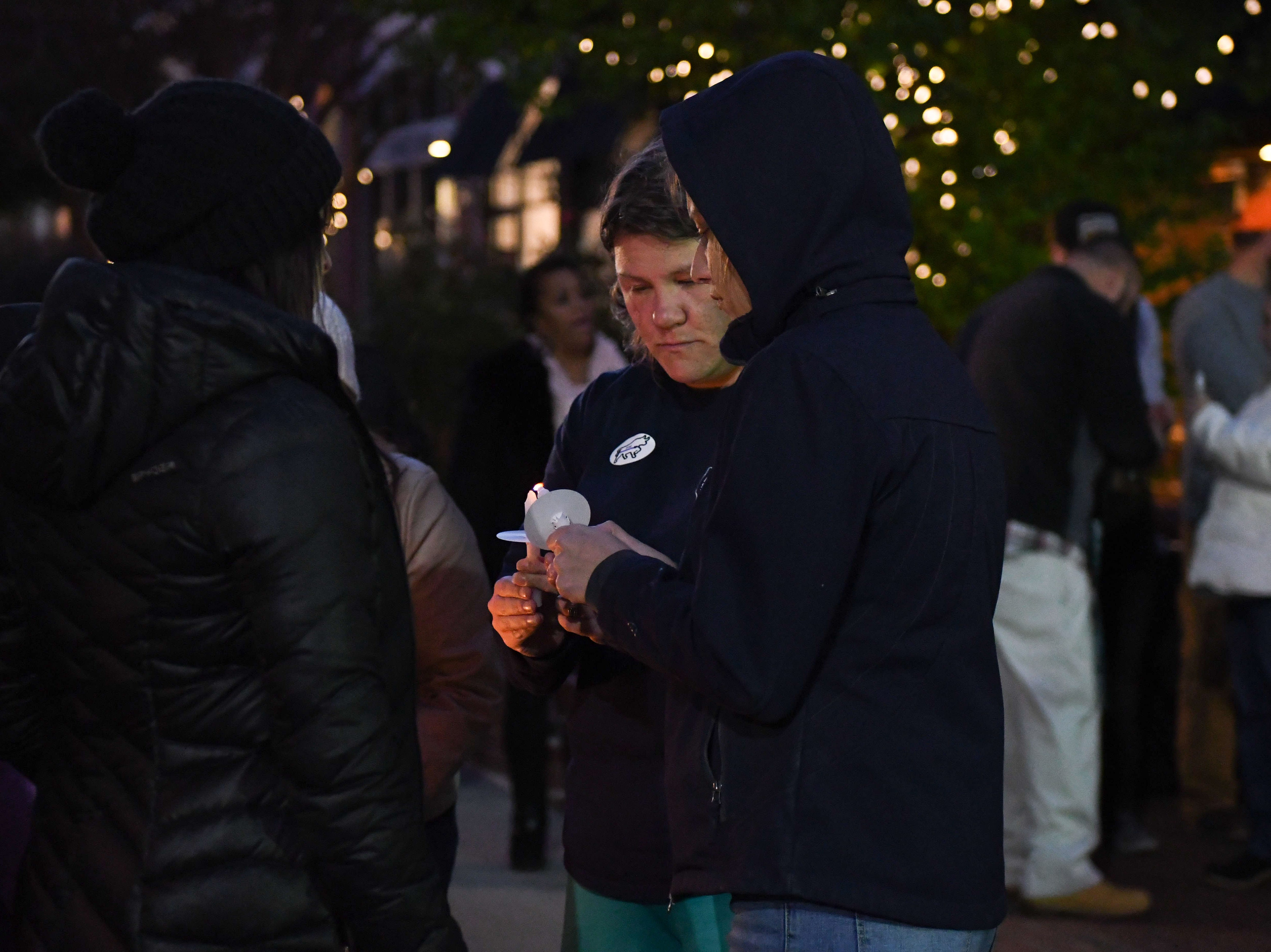 """Members of the community gathered for a memorial that was held to honor Salisbury Police Officer Aaron """"Bull"""" Hudson who died unexpectedly while off duty on Tuesday, Nov. 20, 2018."""