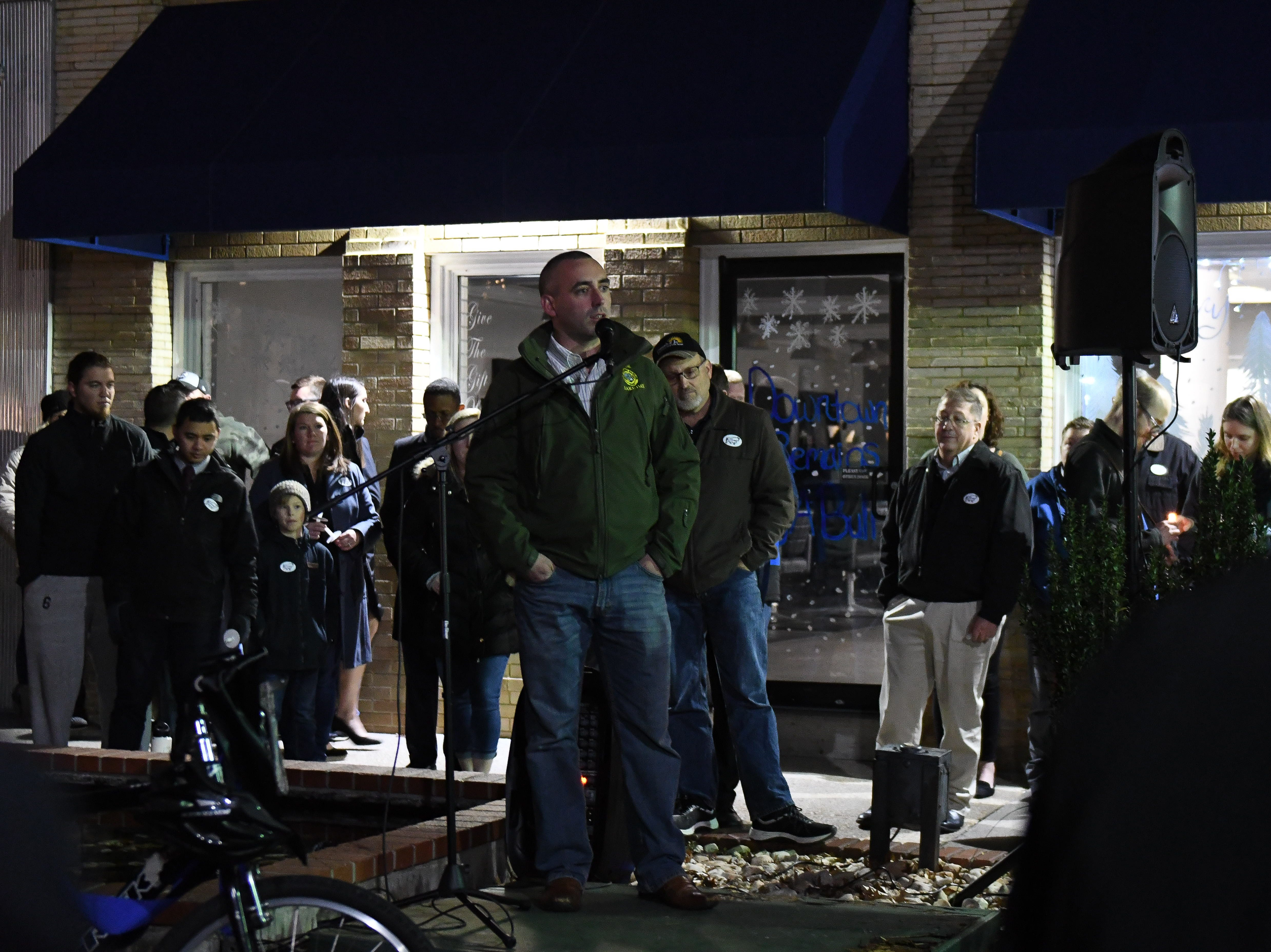 """Mayor Jake Day spoke during the memorial that was held to honor Salisbury Police Officer Aaron """"Bull"""" Hudson who died unexpectedly while off duty on Tuesday, Nov. 20, 2018."""