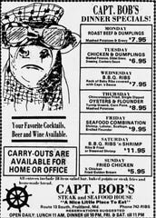 This March 14, 1985 advertisement in The Daily Times for Capt. Bob's Steak and Seafood House features Bob the Bull. The fiberglass status of the then Ocean City restaurant's mascot will be used at a business in Dagsboro, Delaware.